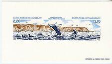 Saint-Pierre et Miquelon Epreuve Luxe 1988 Yvert 495A Triptyque Baleine Paysages