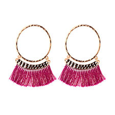 Round Circle Tassel Drop Earrings Boho Bohemian Fringe Tassel Earrings for Women