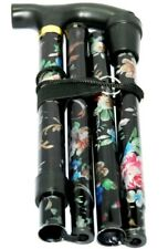 Fancy Sparkly Aluminium Folding Walking Stick Floral Ladies Women Her Man Black
