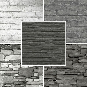 Realistic 3D Vintage Brick Effect Rustic Stone Grey Textured Vinyl Wallpaper