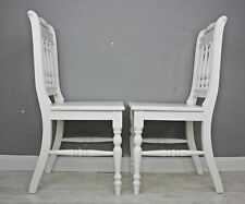 2 x Chair Wooden Kitchen Otto Solid White Wood Cottage S