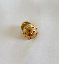 jewelled gold metal ladybird, 18-20mm small pin, red & crystal
