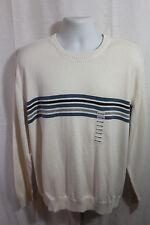 NEW John Ashford White W/ Stripes Long Sleeve Shirt XL Essentials Crew Neck