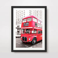 RED LONDON BUS PHOTOGRAPHY ART PRINT Poster Decor Wall Picture Travel Transport