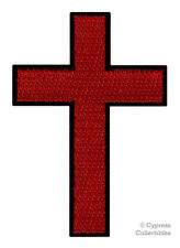 CHRISTIAN CROSS iron-on PATCH embroidered BLACK RED CRUCIFIX JESUS BIKER new
