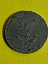 PHILIPPINES 1927 ONE CENTAVO TYPE II, ONE BUTTON, SECOND DIE, KM-4 SCARCE #713
