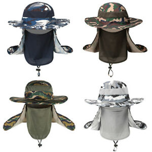 Men Camouflage Cover Face Fisherman Hat Sun Protection Climbing Wide Brim Caps