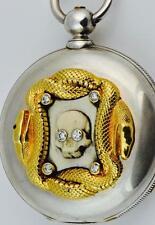 MUSEUM Observatory  1/4 Jump Seconds 2-Train Chronometer SKULL watch.Montandon