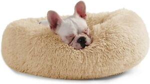 Dog Bed Small Dog Cat Puppy Kitten Animal Soft Warm Donut Bed Pets Beige Cream