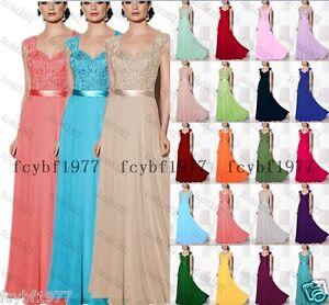 New Design Chiffon Cap Sleeve Long Formal Party Bridesmaid Dresses Formal 6-26