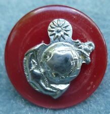 Republic of China Marine Corps Hat Pin Silver Celluloid Vintage Rare Screw Back