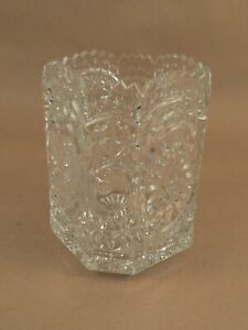 Decorative vase ornate clear glass with Bird design heavy pc.