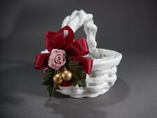American Bedding & Bath Company Handmade PORCELAIN Basket with RIBBON AB&BC