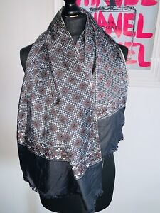 Vintage Retro Trendy MOD 100 % Silk Scarf Patterned Mod Print Grey Red Large