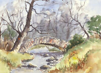 John A. Case - Contemporary Watercolour, River Study with a Bridge