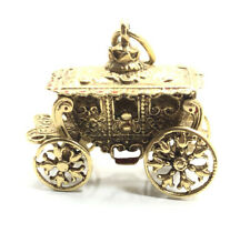 Beautiful Vintage 14k Yellow Gold Heavy Carriage Moving Wheel Charm Pendant