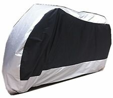 XXXL Outing Thin Waterproof Anti UV Wind Rain Snow Motorcycle Cover Black Silver