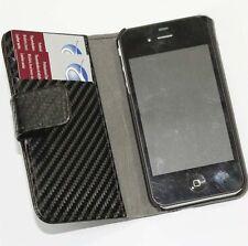 Tasche für Apple iPhone 4 4S Carbon Look Etui Case Schwarz Organizer Mappe Klapp