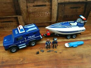 Playmobil 5187 City Action Police 4x4 Truck with Trailer and Boat + Motor