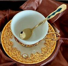 3 pcs turkish arabic greek gold porcelain espresso coffee cup & saucer & spoon