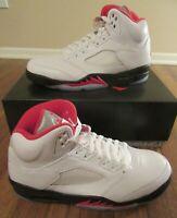 Nike Air Jordan 5 Retro Size 11 True White Fire Red Black DA1911 102 New NIB