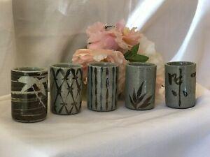 Set x5 Vintage Japanese Pottery Sencha Yunomi Tea Cup Hand Paint Decorative
