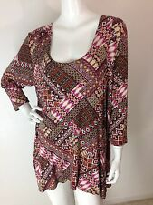 American Rag New Plus Multi-Color Patchwork-Print Pocketed Tunic Top 2X NWT