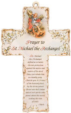 """St Saint Michael the Archangel  6"""" Wooden Cross with Prayer Nice Religious Gift"""