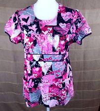 White Cross Womens Medical Uniform Scrub Top 100% Cotton Multi-Color Pink Size L