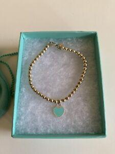 Tiffany & Co Blue Heart Tag Bead Bracelet