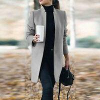 Women Winter Warm Lapel Trench Parka Coat Jacket Long Slim Outwear Overcoat