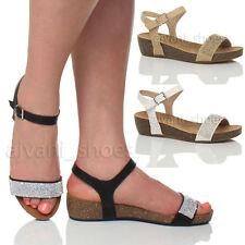 Damenschuhe mit Keilabsatz/Wedge im Knöchel-/Fesselriemen-Stil für Mittlerer Absatz (3-5 cm) und Freizeit
