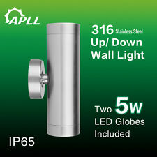 MORDEN 316 STAINLESS STEEL IP65 EXTERIOR WALL UP/DOWN LIGHT-- TWO 5W LED GLOBE