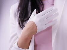 Extra Short Faux Leather Gloves White Cosplay Goth Latex Driving Sun UV Protect
