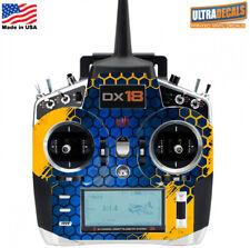 Yellow Blue Honeycomb Spektrum DX18 Transmitter Skin Wrap Decal Radio