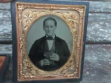 Antique Daguerreotype Photograph of Man Holding Book Rosy Cheeks Black Case