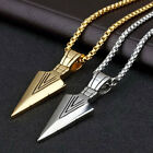 Fashion Men's Stainless Steel Arrow Pendant Necklace Chain Silver Gold Jewelry '