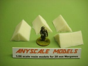 Wargames scenery.  2 man tents. 1:56 scale for 28mm figs pack of 4 (825)