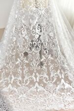 Retro Ivory Lace Tulle with Sequins Fabric Applique Lace Fabric Embroidered Wed