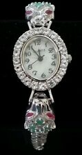 ⭐BEAUTIFUL! 14K White Gold Sterling Silver Emerald Ruby Panther Cat Watch NEW