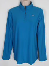 Under Armour Cold Gear shirt ¼ zip base layer athletic top Blue Womens Size L