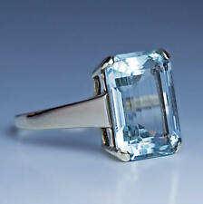6.0Ct Emerald Cut Aquamarine Diamond Engagement Vintage Ring 14K White Gold Over