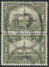 Canada #159 $1 Parliament Vertical Pair, F-VF Used, Light 'R' Oval Cancel