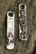 Rustic Artisan TRUTH Inspirational Word Tag Charm in Sterling Silver 238s