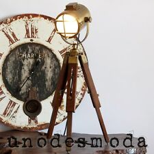 Rustic Hand Made Brass Tripod Nautical Spot Light Table Lamp Bedside (UD-SIS1)
