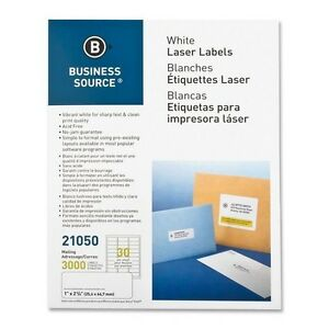 """Premium Business Source 21050 White Label - 1"""" X 2.62"""", 30/Sheet, 3000/Pack"""
