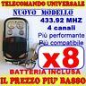 MHZ 433 UNIVERSALE TELECOMANDO CANCELLO 8 GARAGE PER FAAC CAME FADINI zx