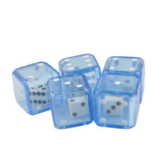 Pack of 5 Double Dice 19mm Transparent Blue & White Die Organza Bag