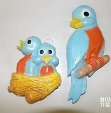 CUTE VTG 40s 50s CHALKWARE MOM BABY BLUE BIRD WALL HANGING PLAQUES HANDCRAFTED