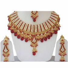 Stylish Indian Designer Stone Pearls GoldPlated Party Wear Jewelry Necklace Set